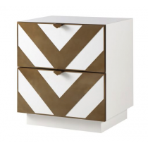 Unma White & Dark Brass Bedside Table