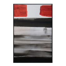 Abstract Black & Red Hand Painted Oil Paint on Canvas