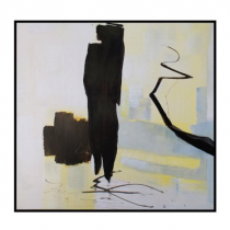 Abstract Black & Yellow Hand Painted Oil Paint on Canvas