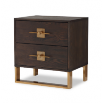 Ophir Dark Brown & Dark Brass Bedside Table