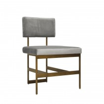 Worlds Away Shaw Bronze Dining Chair with Grey Velvet Cushion