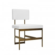 Worlds Away Shaw Bronze Dining Chair with White Vinyl Cushion