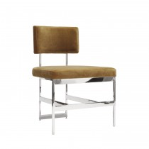 Shaw Nickel Dining Chair with Camel Velvet Cushion