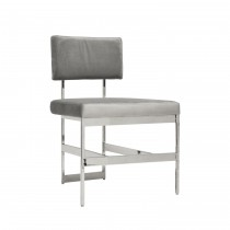 Worlds Away Shaw Nickel Dining Chair with Grey Velvet Cushion