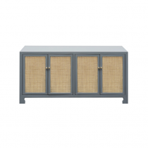Worlds Away SOFIA CANE CABINET IN GREY LACQUER AND BRASS