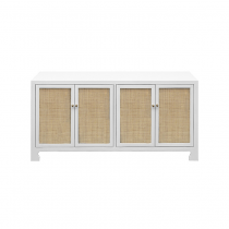 Worlds Away SOFIA CANE CABINET IN WHITE LACQUER AND BRASS