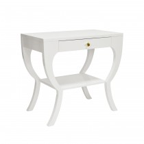 Worlds Away Sonya White Lacquer Curvy Side Table
