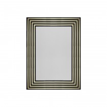 Worlds Away Swan Black & White Striped Resin Mirror