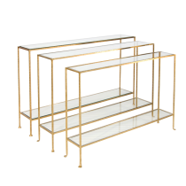 Worlds Away Woodard Gold Leaf Console