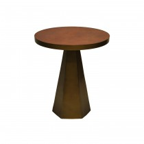 Woodrow Brass Side Table with Brown Faux Leather Top