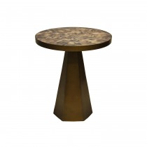 Woodrow Brass Side Table with Radial Horn Top