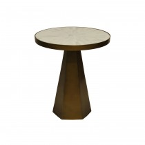 Woodrow Brass Side Table with Radial Bone Top