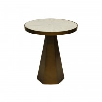 Woodrow Brass Side Table with White Marble Top