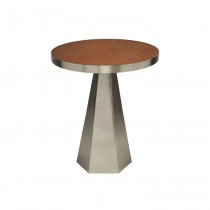 Woodrow Nickel Side Table with Brown Faux Leather Top