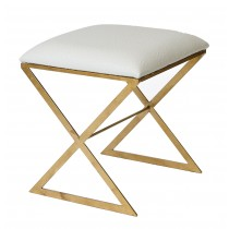 X Stool Gold with White Ostrich