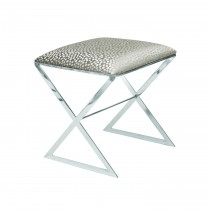 Worlds Away X Side Nickel Stool with Silver Dot Seat