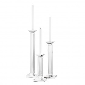Livia Nickel Clear Candle Holder Set of 3