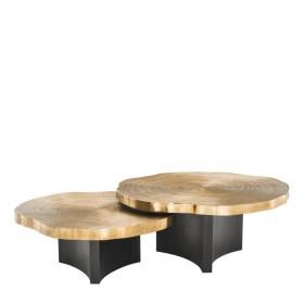 Thousand Oaks Brass & Black Coffee Table - Set of 2