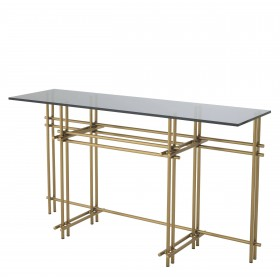 Quinn Brushed Brass & Smoked Mirror Console Table