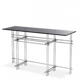 Quinn Stainless Steel & Smoked Mirror Console Table