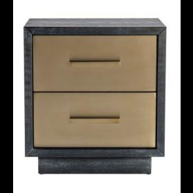 Camden Black Ash & Brushed Brass Bedside Table