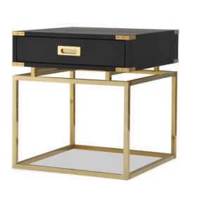 Genoa Black Ash & Brass One Drawer Bedside Table