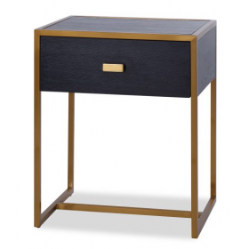 Holman Black Ash & Brass Bedside Table
