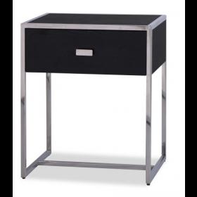 Holman Black Ash & Stainless Steel Bedside Table
