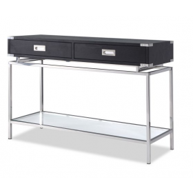 Genoa Black Ash & Stainless Steel Console Table