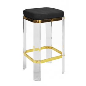 Dorsey Acrylic & Brass Counter Stool with Black Shagreen Cushion