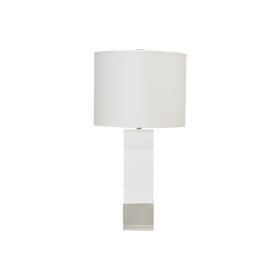 HARPER WHITE LACQUER TABLE LAMP W. NKL BASE, WHT LINEN DRM SHADE