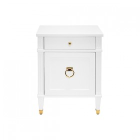Lily White Lacquer & Brass Side Table