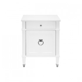 Lily White Lacqer & Nickel Side Table