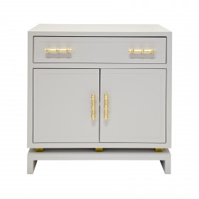 Marcus Grey Lacquer & Gold Leaf Bedside Table