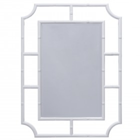 WHITE LACQUER BAMBOO DETAIL WITH BEVELED MIRROR