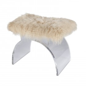 Marlowe Lucite Stool with Natural Mongolian Fur