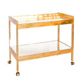 ROLAND GOLD LEAF AND MIRRORED BAR CART WITH GOLD CASTERS
