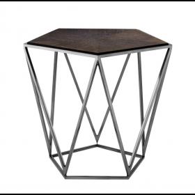 Pentagon Charcoal Oak Veneer Side Table