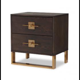 Ophir Dark Brown & Dark Brass Bedside Table