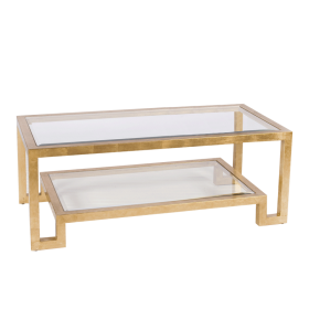 WINSTON GOLD LEAFED TWO LEVEL COFFEE TABLE