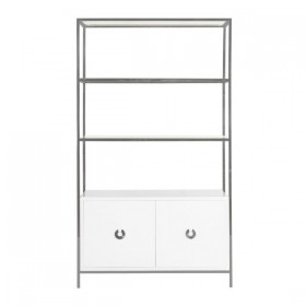 Wyeth Nickel Etagere with White Lacquer Cabinet
