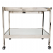 ROLAND NICKEL AND MIRRORED BAR CART WITH NICKEL CASTERS